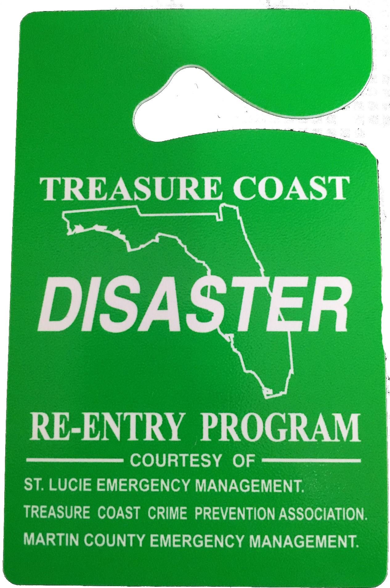 Disaster - Treasure Coast - Re-entry Program Placard
