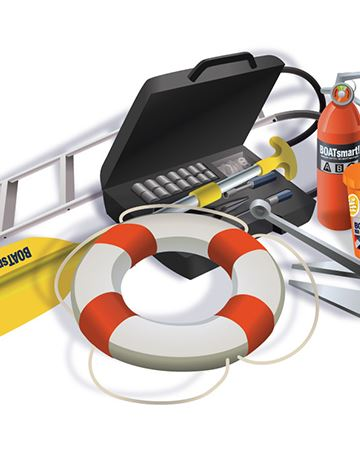 Photo of various boating safety items