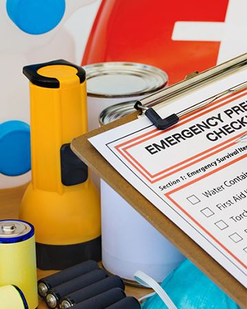 Photo of various disaster preparedness items