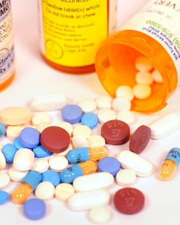 Photo of drugs and pill  bottle