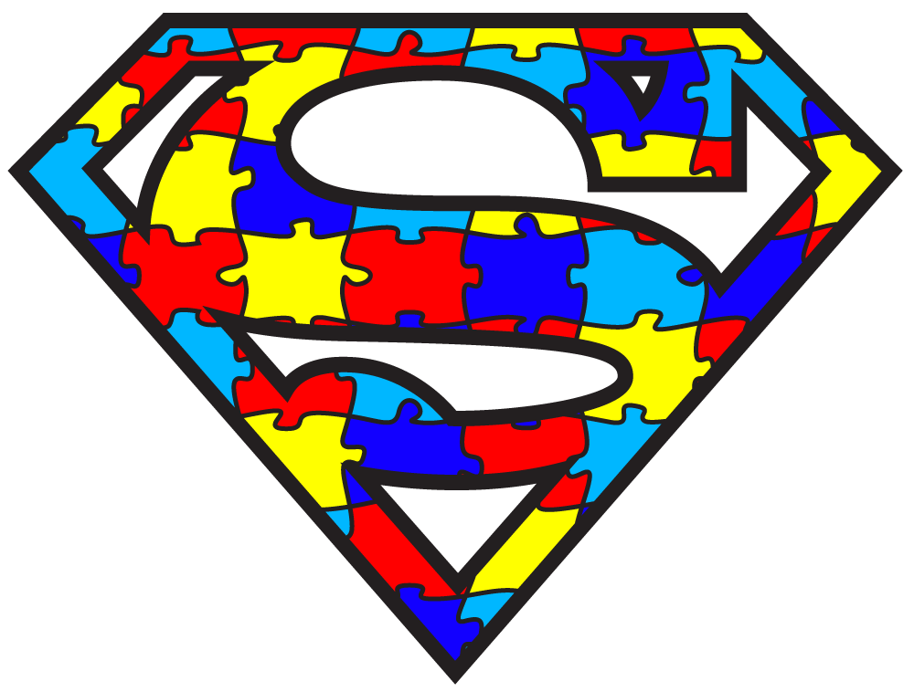 A graphic of the autism awareness puzzle in the shape of the Superman logo.